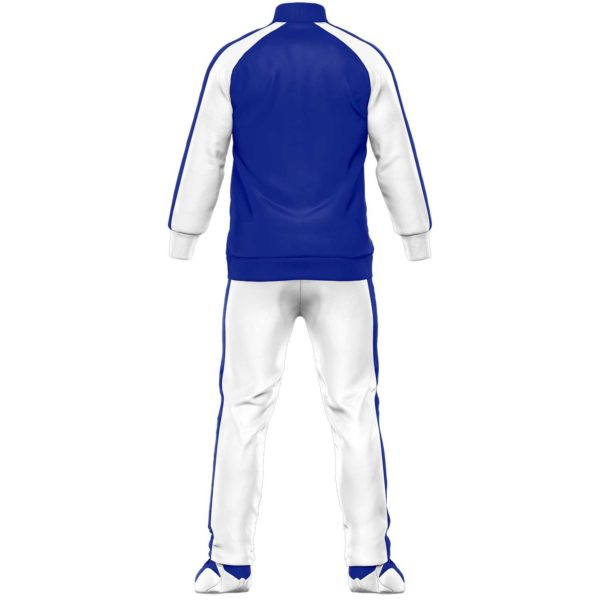 Blue and white men tracksuits backside
